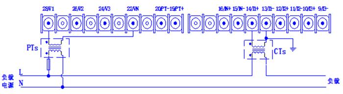 图1-4单相两线系统接线图